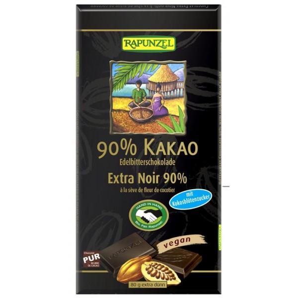 Ciocolata amaruie 90% cacao si zahar de cocos VEGANA bio