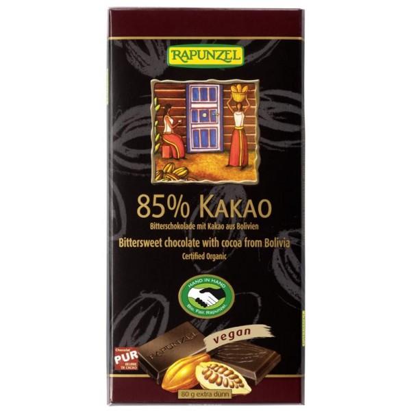 Ciocolata amaruie 85 % cacao VEGANA bio