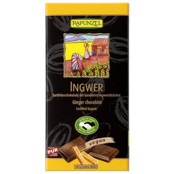 Ciocolata amaruie cu Ghimbir si 55% cacao VEGANA bio