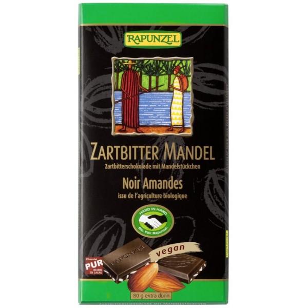 Ciocolata amaruie cu Migdale si 55% cacao VEGANA bio