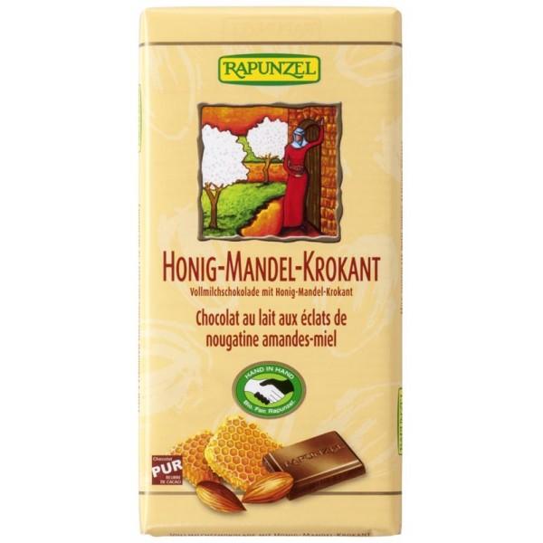 Ciocolata din lapte integral crocanta cu miere si migdale bio