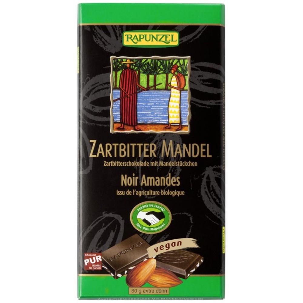 Ciocolata bio amăruie cu migdale si 55% cacao HIH
