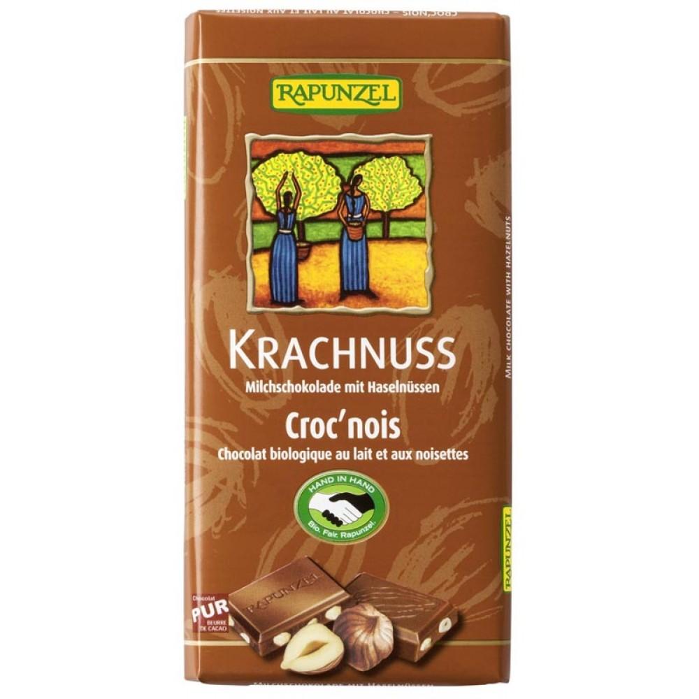 Ciocolata bio din lapte integral cu alune