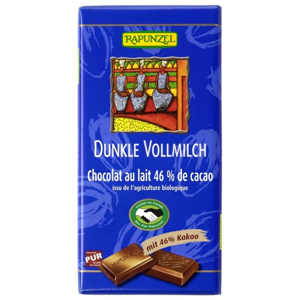 Ciocolata neagra cu lapte integral 46% cacao  bio