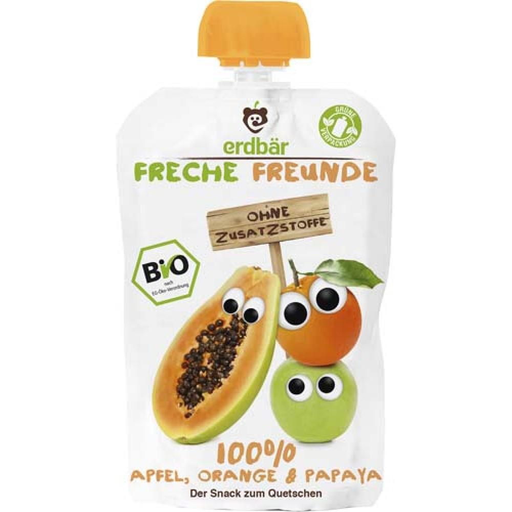 Piure ecologic de mere, portocala si papaya