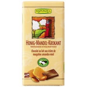 Ciocolata bio din lapte integral crocanta cu miere si migdale
